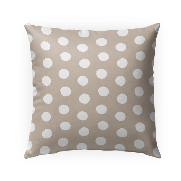 BIG POLKA DOTS TAN Indoor|Outdoor Pillow By Becky Bailey - 18X18
