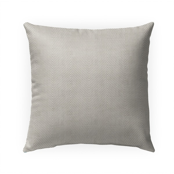 STITCHED ZIG ZAG TRIBAL CREAM Indoor|Outdoor Pillow By Becky Bailey - N/A - 18X18
