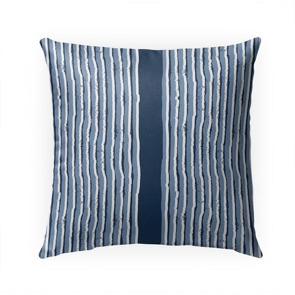 ZEN STRIPE BLOCK PRINT INDIGO Indoor Outdoor Pillow By Becky Bailey - 18X18