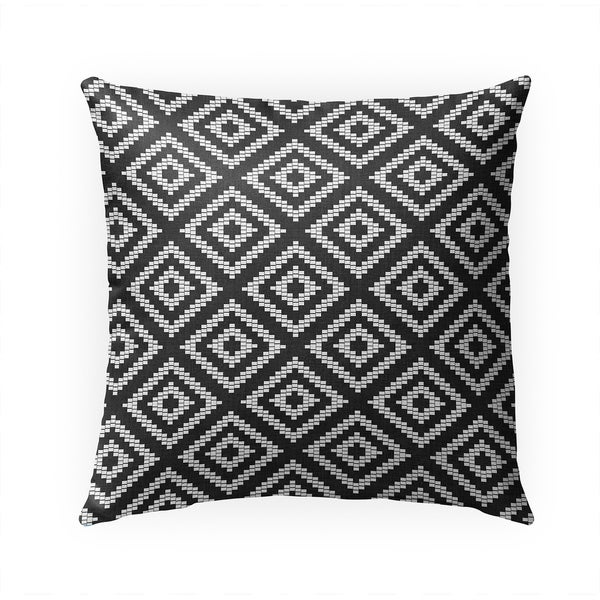 STAIRSTEP DIAMOND BW Indoor|Outdoor Pillow By Becky Bailey - 18X18