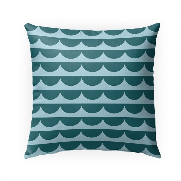 MID CENTURY SCALLOP TEAL Indoor|Outdoor Pillow By Becky Bailey - 18X18