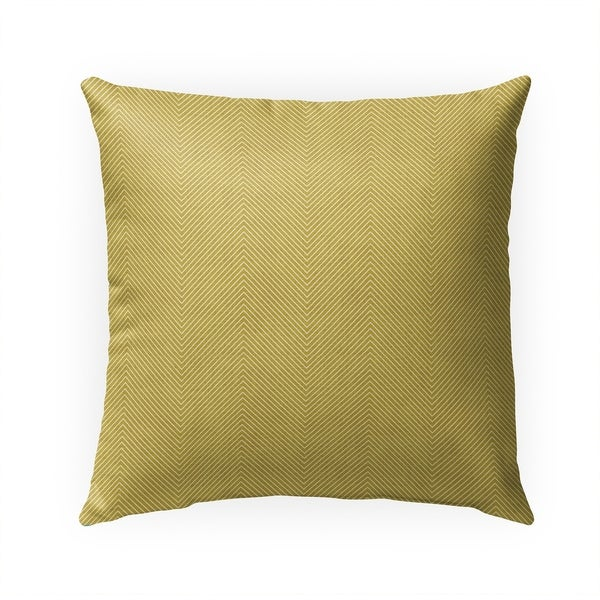 STITCHED ZIG ZAG TRIBAL MUSTARD Indoor|Outdoor Pillow By Becky Bailey - 18X18