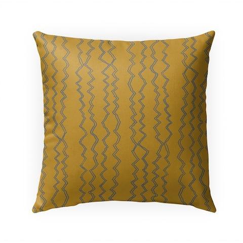 BERBER STRIPE MUSTARD GREY Indoor Outdoor Pillow by Kavka Designs - 18X18