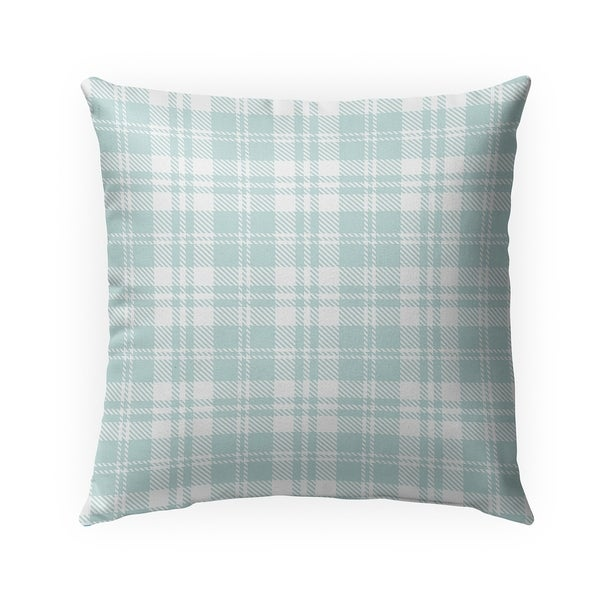 COZY PLAID SEAFOAM Indoor|Outdoor Pillow By Becky Bailey - 18X18