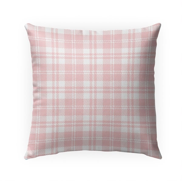 COZY PLAID BABY PINK Indoor Outdoor Pillow By Becky Bailey - 18X18