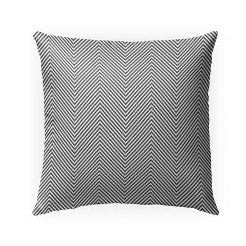 DEEP CHEVRON DARK GREY Indoor Outdoor Pillow By Becky Bailey - 18X18