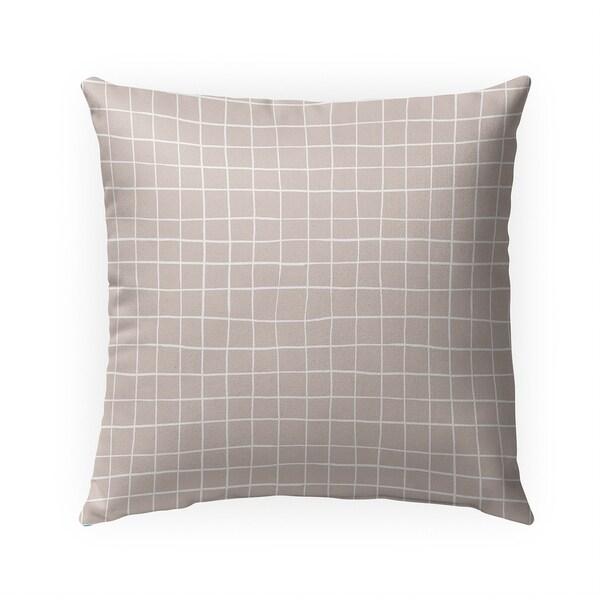 GRIDLINES BEIGE Indoor Outdoor Pillow By Becky Bailey - N/A - 18X18