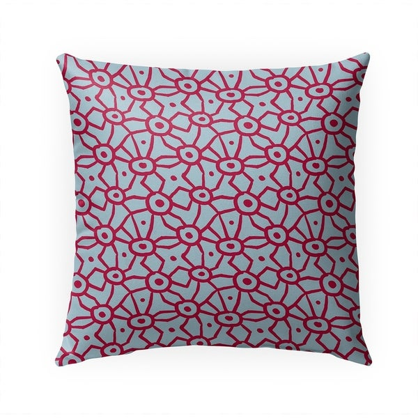 DOODLE RED AND BLUE Indoor|Outdoor Pillow By Becky Bailey - 18X18