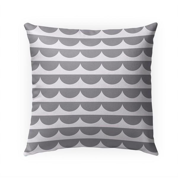 MID CENTURY SCALLOP GREY Indoor|Outdoor Pillow By Becky Bailey - 18X18