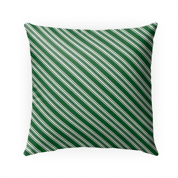 DIAGONAL CANDY STRIPES GREEN Indoor|Outdoor Pillow By Becky Bailey - 18X18