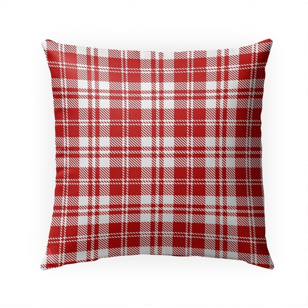 COZY PLAID RED Indoor|Outdoor Pillow By Becky Bailey - 18X18