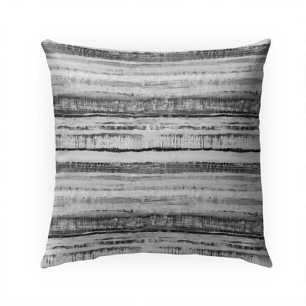 WASHY WATERCOLOR STRIPE B+W Indoor|Outdoor Pillow By Becky Bailey - 18X18