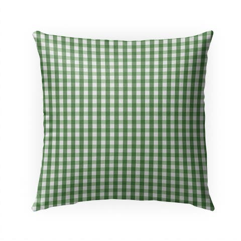 SMALL PLAID GREEN Indoor Outdoor Pillow By Kavka Designs - 18X18