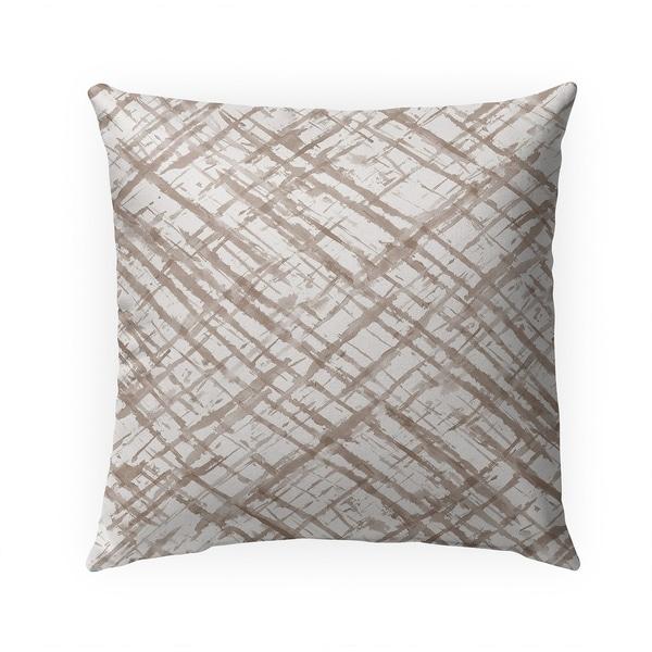 WATERCOLOR CRISS CROSS BEIGE Indoor Outdoor Pillow By Becky Bailey - 18X18