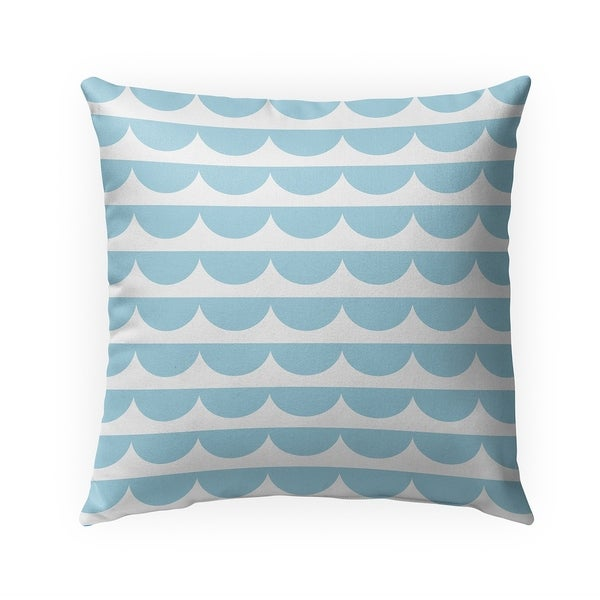 MID CENTURY SCALLOP BLUE Indoor|Outdoor Pillow By Becky Bailey - 18X18