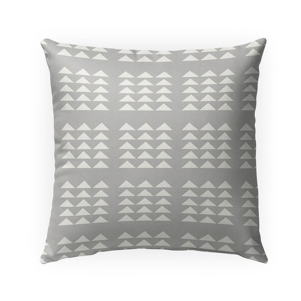 TRIBAL TRIANGLES GREY Indoor Outdoor Pillow By Becky Bailey - 18X18