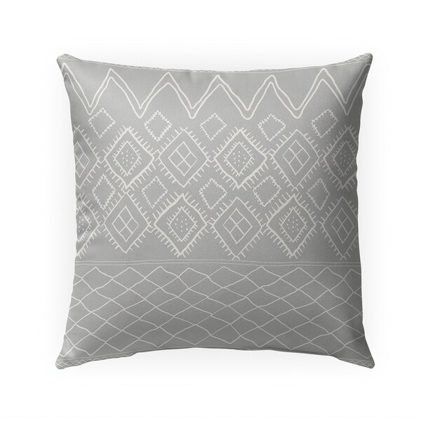 BENI MOROCCAN PRINT GREY Indoor|Outdoor Pillow By Becky Bailey - 18X18