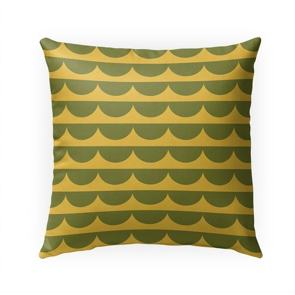 MID CENTURY SCALLOP GREEN YELLOW Indoor|Outdoor Pillow By Becky Bailey - 18X18