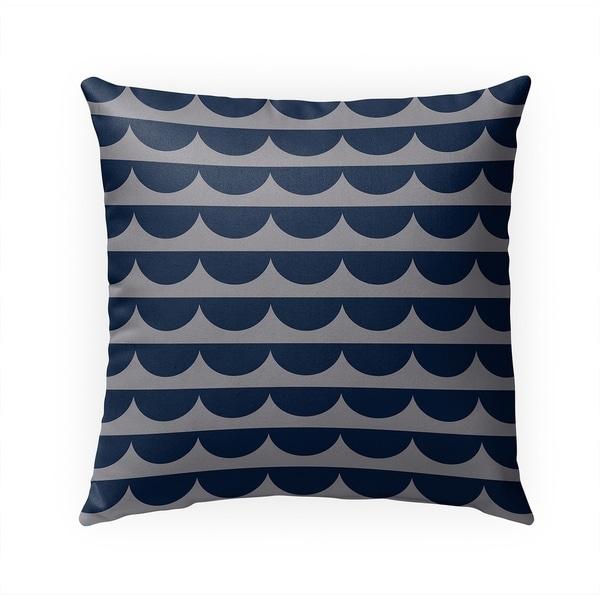 MID CENTURY SCALLOP INDIGO GREY Indoor|Outdoor Pillow By Becky Bailey - 18X18