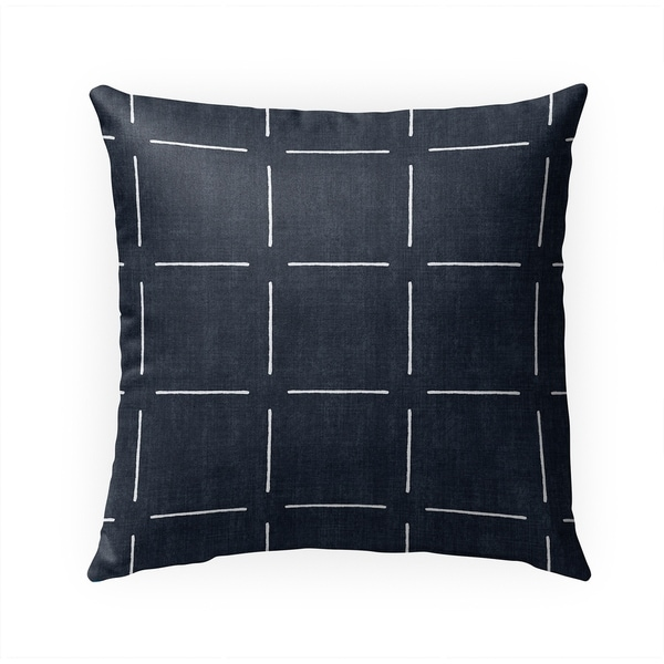 BLOCK PRINT SIMPLE SQUARES NAVY Indoor|Outdoor Pillow By Becky Bailey - 18X18