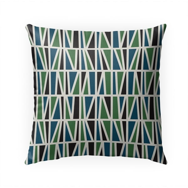 SLANTED GREEN BLUE Indoor|Outdoor Pillow By BG Riley - 18X18