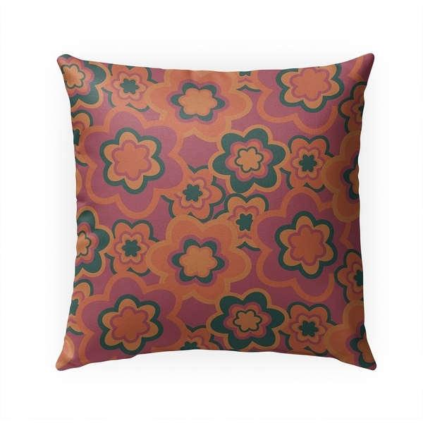 FLORAL BURST PINK Indoor|Outdoor Pillow By Becky Bailey - 18X18