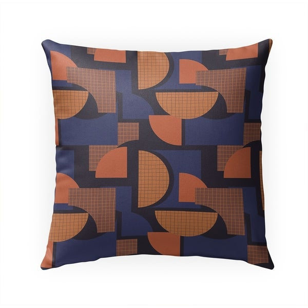 SHAPES BLUE ORANGE Indoor|Outdoor Pillow By Becky Bailey - 18X18