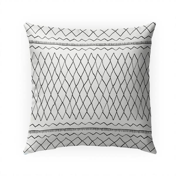 FATEMA MOROCCAN PRINT WHITE Indoor|Outdoor Pillow By Becky Bailey - 18X18