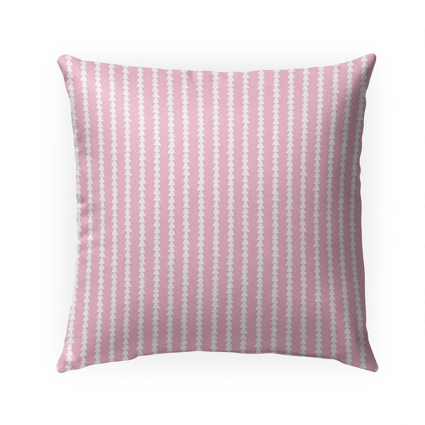 TINY TRIANGLE STRIPE PINK Indoor Outdoor Pillow By Becky Bailey - 18X18