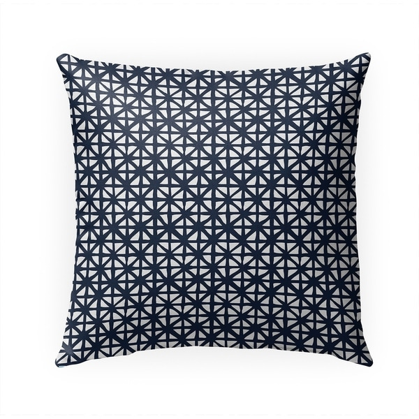 CARVED GRID NAVY Indoor Outdoor Pillow By Becky Bailey - 18X18