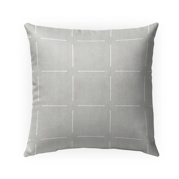 BLOCK PRINT SIMPLE SQUARES GREY Indoor|Outdoor Pillow By Becky Bailey - 18X18