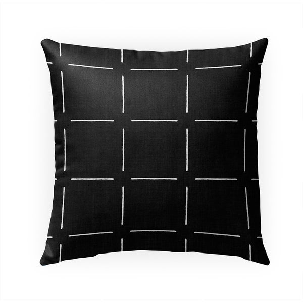 BLOCK PRINT SIMPLE SQUARES BLACK Indoor Outdoor Pillow By Becky Bailey - 18X18
