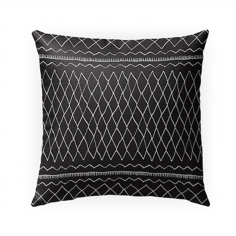 FATEMA MOROCCAN PRINT BLACK Indoor Outdoor Pillow by Kavka Designs - 18X18