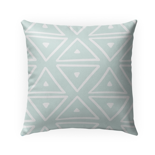 BIG TRIANGLES MINT Indoor Outdoor Pillow By Becky Bailey - 18X18