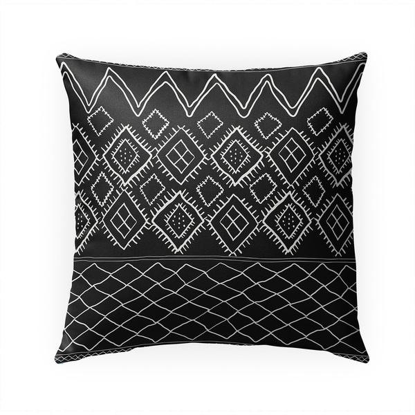 BENI MOROCCAN PRINT BLACK Indoor Outdoor Pillow By Becky Bailey - 18X18