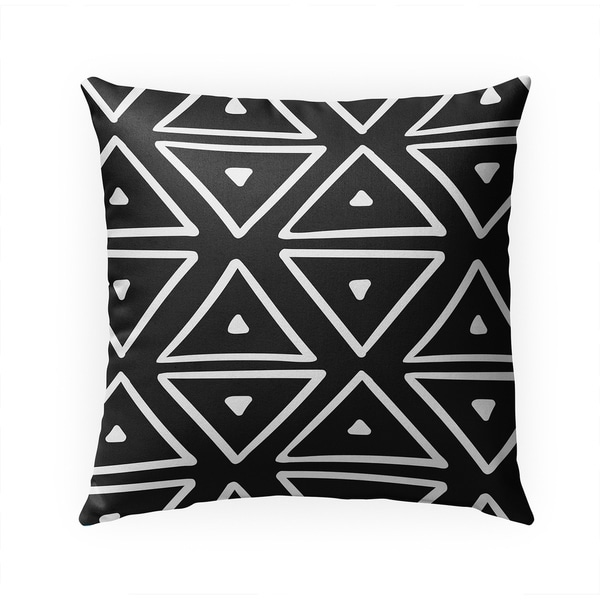 BIG TRIANGLES BLACK Indoor|Outdoor Pillow By Becky Bailey - 18X18