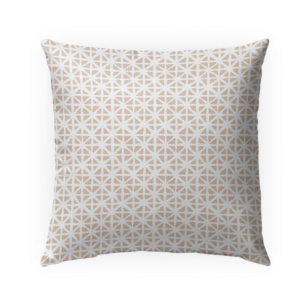 CARVED GRID TAN Indoor|Outdoor Pillow By Becky Bailey - 18X18