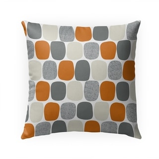 MID CENTURY OVALS ORANGE Indoor|Outdoor Pillow By Becky Bailey - 18X18