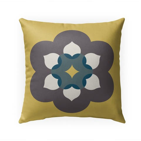 MODERN BLOOM GOLD Indoor Outdoor Pillow by Kavka Designs - 18X18