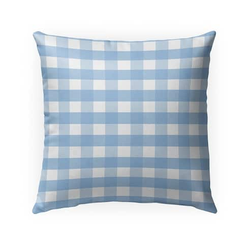 BLUE GINGHAM DREAM Indoor Outdoor Pillow by Kavka Designs - 18X18