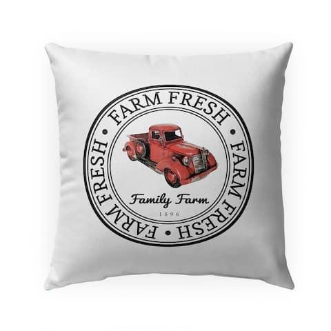 FARM FRESH TRUCK Indoor Outdoor Pillow by Kavka Designs - 18X18