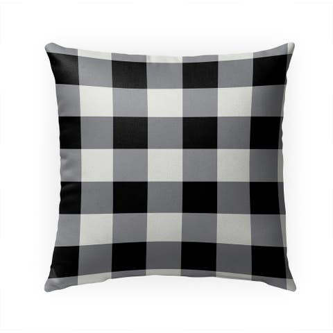 HOLIDAY BLACK AND WHITE PLAID Indoor Outdoor Pillow By Kavka Designs - 18X18