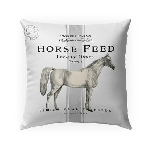 HORSE FEED THREE Indoor Outdoor Pillow by Kavka Designs - 18X18