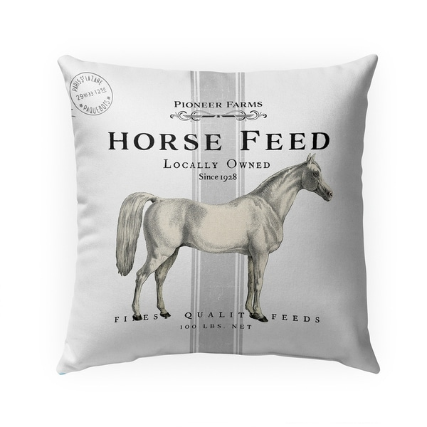 HORSE FEED THREE Indoor|Outdoor Pillow by Kavka Designs - 18X18. Opens flyout.