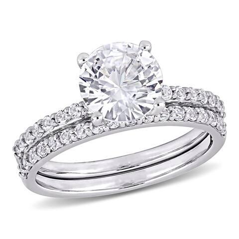 Miadora 10k White Gold Created White Sapphire Wedding Ring Set