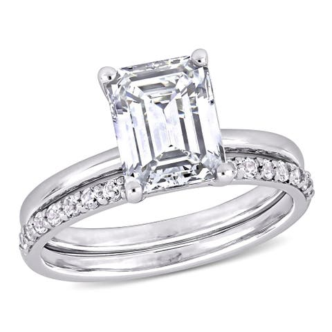 Miadora 10k White Gold Emerald-cut Created White Sapphire Solitaire Wedding Ring Set