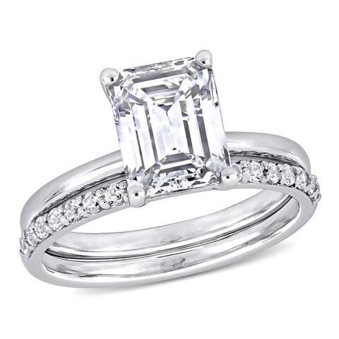 Miadora 10k White Gold Emerald-cut Created White Sapphire Solitaire Wedding Ring Set