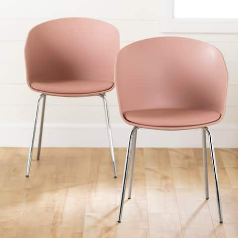 Flam Set of 2 Dinning Chair with Silver Metal Legs