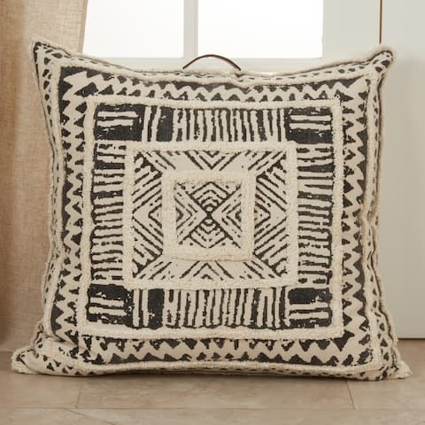 Floor Pillow with Printed and Tufted Design