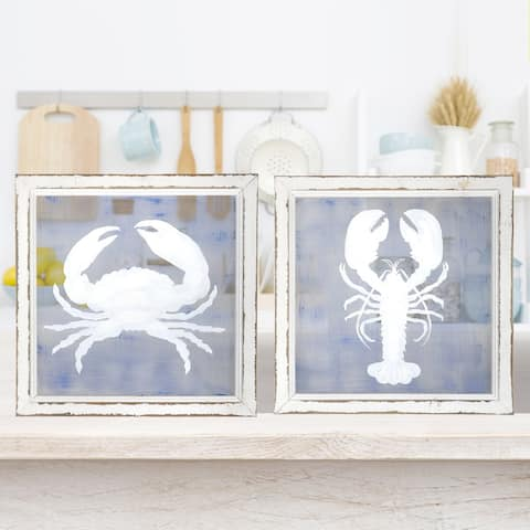 Painted Lobster & Crab Screen 16x16""